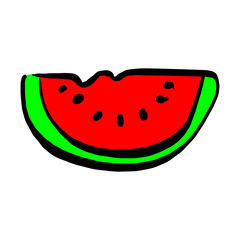 slice of watermelon vector illustration sketch hand drawn with black lines isolated on white background