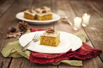 Christmas Holiday Pumpkin Cake Bread Dessert on Rustic Wood