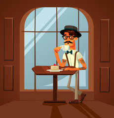 Happy smiling hipster man character eating cake and drinking morning coffee in cafe. Vector flat cartoon illustration