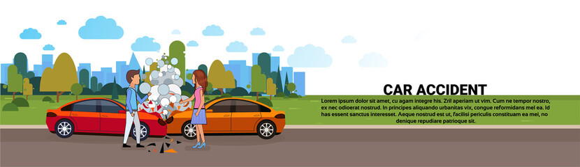 Car Accident On Road Vehicle Collision With Male And Female Driver Horizontal Banner Vector Illustration
