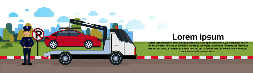 Car In Towing Away Zone Of Parking Vehicle Evacuation View Horizontal Banner Flat Vector Illustration