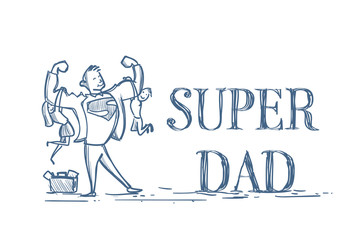 Super Dad Holding Kids Son And Daughter Doodle On White Background Happy Father Day Concept Vector Illustration