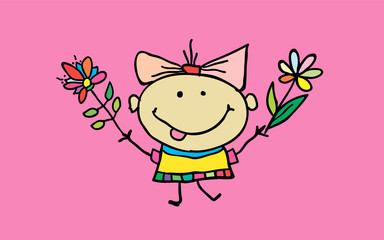 Cute cartoon girl with flowers. Children illustration. T-shirt graphic. cartoon character.