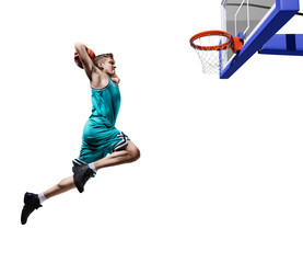 basketball player making slam dunk isolated
