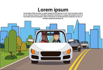 Car With Man And African American Woman On Road Over Silhouette City Background Flat Vector Illustration