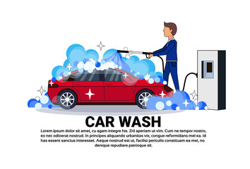 Car Wash Service Worker Cleaning Vehicle Over Copy Space Background Flat Vector Illustration
