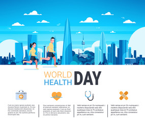 World Health Day Infographic Banner With Man And Woman Jogging Over Silhouette City Template Background Flat Vector Illustration