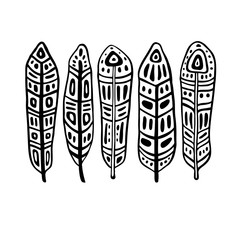 Ethnic Feathers Set. Hand drawn vector illustration. Design element
