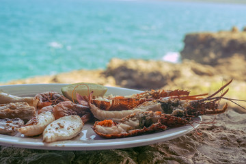 Seafood dish on the background of the sea