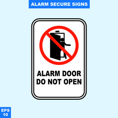 Emergency alarm and security alert signs in vector style version, easy to use and print