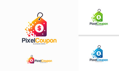 Pixel Coupon logo designs concept vector, Fast Abstract Coupon logo template