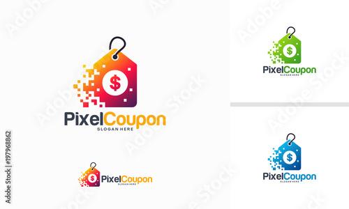 Pixel Coupon Logo Designs Concept Vector Fast Abstract Coupon Logo