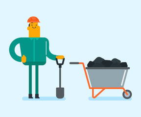 Caucasian white miner in hard hat standing next to the mining trolley with coal and minerals. Mine worker working with shovel in the coal mine. Mining industry concept. Vector cartoon illustration.