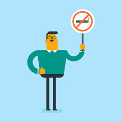 Young caucasian white man holding no smoking sign in hands. Man with a forbidden cigarette sign. Quit smoking and healthy lifestyle concept. Vector cartoon illustration. Square layout.