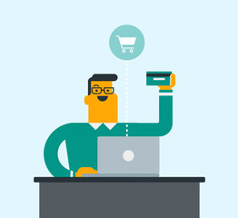 Caucasian white man sitting at the table with a laptop computer and holding a credit card in hand. Happy man buying things online. Online shopping concept. Vector cartoon illustration. Square layout.