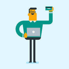 Caucasian white man standing with a laptop computer in hand and holding a credit card. Young happy man buying things online. Online shopping concept. Vector cartoon illustration. Square layout.
