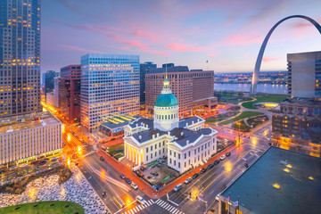 Wall Murals Central America Country St. Louis downtown skyline at twilight
