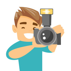 Female photographer taking a photo. Young photographer taking a picture. Caucasian photographer working with digital camera. Vector cartoon illustration. Square layout.