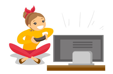 Happy caucasian gamer sitting on a sofa and playing video game on the television. An excited young man with console in hands playing video game at home. Vector cartoon illustration. Square layout.