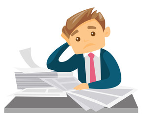Stressed business woman sitting at workplace and clutching her head because of missed deadline. Caucasian business woman having problem with deadline. Vector cartoon illustration. Square layout.