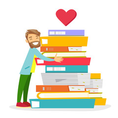 Young caucasian white female student holding a book and pointing at heart shape with text books. Woman likes read book. Vector cartoon illustration isolated on white background. Square layout.