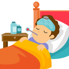 Sick caucasain white man with fever laying in bed and measuring temperature with a thermometer. Sick patient having headache and suffering from flu virus. Vector cartoon illustration. Square layout.