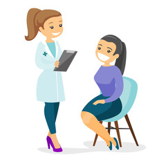 Caucasian doctor consulting female patient in office. Doctor talking to smiling patient. Doctor communicating with patient about her state of health. Vector cartoon illustration. Square layout.