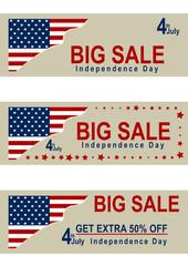 Set Sale Banner für den unabhängigkeitstag mit amerikanischer Flagge. Eps 10 Vektor-Datei