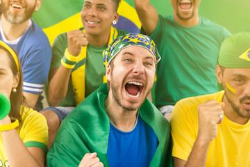Brazilian supporters at stadium bleachers. Goal, victory, celebration.