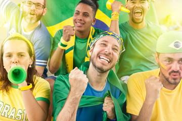 Friends from Brazil watching football match.