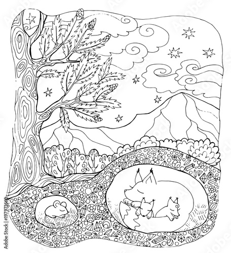 Coloring Page Forest Animals Stock Image And Royalty Free Vector