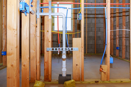 New home construction pipes and electrical