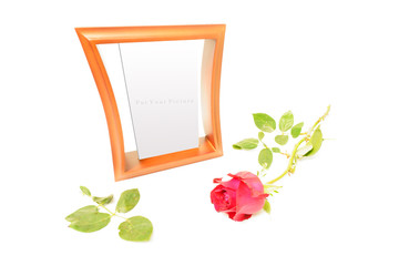 Picture Frame and a Rose on White Background