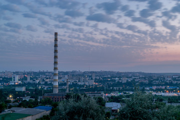 View to the city of Chisinau during dawn