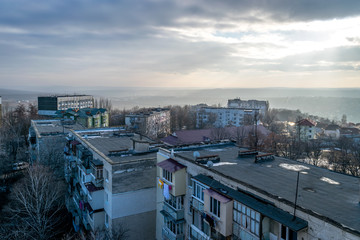 View to rooftops during dawn in Chisinau