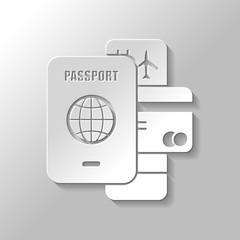 passport, ticket, credit card. air travel concept. Paper style with shadow on gray background