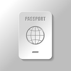 passport, simple icon. Paper style with shadow on gray background