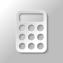 simple calculator icon. Paper style with shadow on gray background