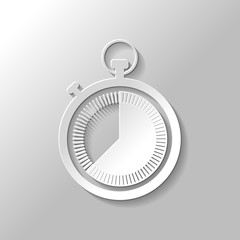 stopwatch. simple icon. Paper style with shadow on gray background