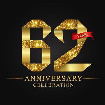 anniversary, aniversary, 62 years anniversary celebration logotype. Logo,ribbon golden number on black background.Numbers ribbon gold.