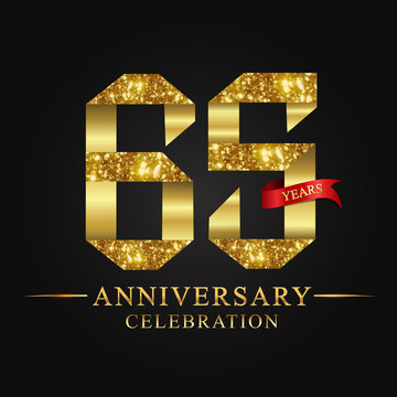 anniversary, aniversary, 65 years anniversary celebration logotype. Logo,ribbon golden number on black background.Numbers ribbon gold.