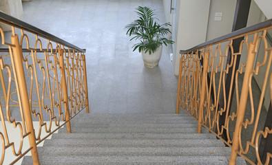 Foto op Plexiglas Trappen Stairs down in a building.