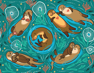 Vector seamless pattern with cute lovely otters in the sea. Decorative surface background