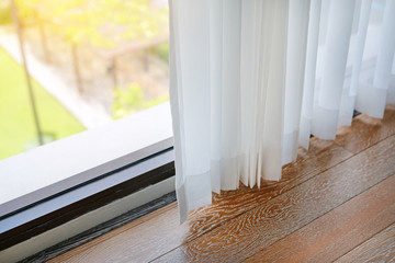 White transparent curtain.
