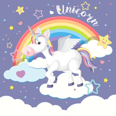 Background design with unicorn and rainbow