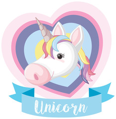 Banner design with unicorn head