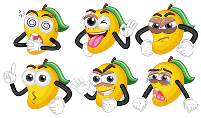 Yellow mangoes with six different faces