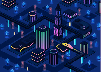 Isometric futuristic night city vector illustration of 3D future urban infrastructure transportation and smart illumination technology. Residential town buildings for isometric innovation flat design