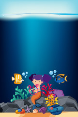 Ocean scene with mermaid and fish