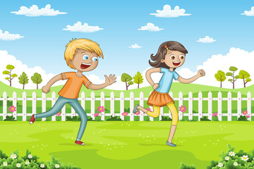 Wall Mural - Two children are running through a park